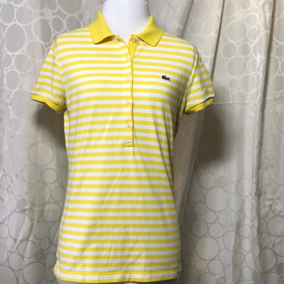 ee31cc1e24 Yellow and white stripe Lacoste polo shirt